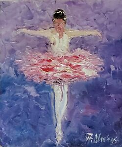 ANDRE DLUHOS ORIGINAL ART OIL PAINTING Ballet Dance Music Ballerina Dancer Girl