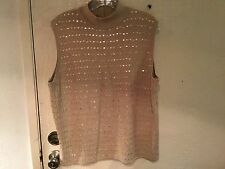 Womens L Sweater Top Gold Sequin Sleeveless Pull Over Knit Alfred Dunner Fancy
