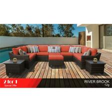 kathy ireland River Brook 12 Piece Wicker Patio Furniture Set 12g in Tangerine