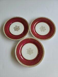 Austria Set of 3 Higgins & Seiter NY 8 inch Plates, Gold trim and gold design