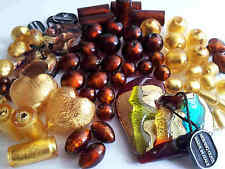 WHOLESALE  genuine MURANO italian foil glass beads LOT brown gold (barg43)