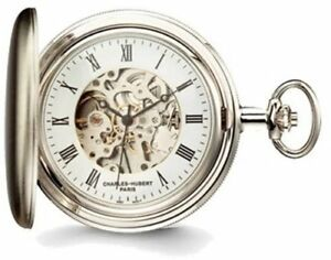 Charles Hubert Satin Chrome Finish Brass Pocket Watch