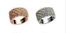 Women Luxury Shine Full Rhinestone Ring Stainless Wide Band Gold/Silver  2016