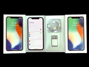 Factory Unlocked Apple iPHONE X 64GB AT&T T-MOBILE Verizon Cricket Metro + Box