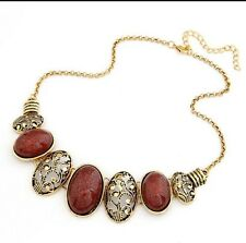 Bohemian Bib Choker Necklace Vintage Style Red Colored Gold Toned