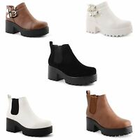 New Ladies Womens Mid Heel Platform Biker Ankle Chelsea Boots Cleated Sole Shoes