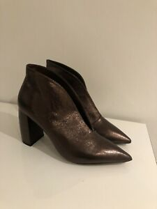 Next Metallic High Heeled Block Boot/Shoes,Size 8, Forever Comfort,new Rrp £45