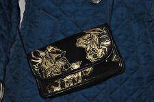 Carlos Falchi evening shoulder/crossbody bag black suede & metallic gold leather