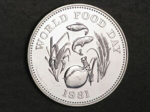 PHILIPPINES 1981 25 Piso World Food Day Silver Proof-Like BU