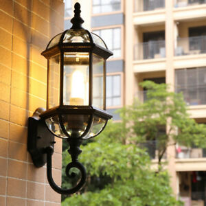 French Country Black Metal Lantern Clear Glass Waterproof Garden Wall Light Loft