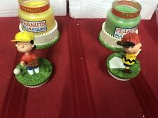 Lot Of 2 Peanuts Charlie Brown & Lucy Baseball Collectible Candle Jars By Avon!