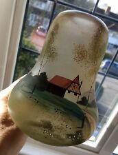 Unusual Art Deco Style Hand Painted Glass Lamp Light Shade House & Country Scene
