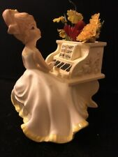 Vintage Girl Playing Piano Music Box Planter