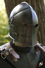 Medieval Barbuta black Knight Templar Crusader Armour helmet with exp shipping