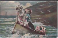 Two Children in Rowing Boat Postcard Vintage Edwardian coloured