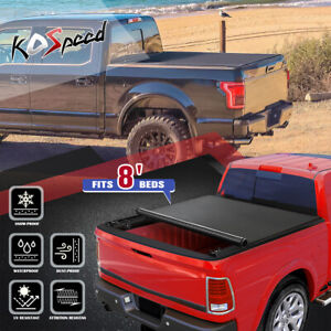 (SOFT VINYL LOCK ROLL-UP) Tonneau Cover for 02-18 Dodge Ram 1500-3500 8Ft Bed