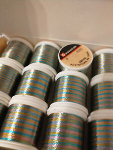 12 Spools Gudebrod Metallic Nylron Rainbow Thread Rod Winding A FULL BOX