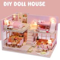 Bricolaje Casa de Muñecas Muebles Miniatura Kit Madera Rosa Juguete Navidad