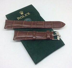 ROLEX Watch Band 20MM Brown Leather w/ Steel Buckle & HQ ROLEX Suede Pouch