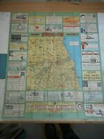 100% ORIGINAL LARGE NEWCASTLE  FOLDING MAP BY HARDING  C1920/S  VGC ADVERTS
