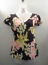"Kaua'iana~Hawaiian Tropical Blouse~Size 1X Pink Green Black~42"" B~Split Cap Slv"
