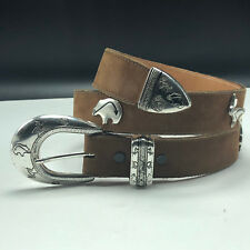 WESTERN WOMENS LEATHER BELT vintage silver animals Texas 5168T size 30 usa gecko