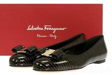 NEW SALVATORE FERRAGAMO VARINA BLACK PATENT LEATHER BALLET FLATS SHOES  6.5 C