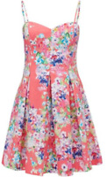 Forever New coral floral fit & flare sun dress - AS NEW - 8  FREE POST