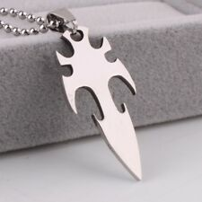 """316L Stainless Steel Pendant  0.75X1.60 Inch Flame Sword Silver Necklace 22"""" B16"""