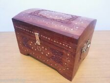 Antique Wooden Carving Box Treasure Pirate Chest Collectible Home Decorative