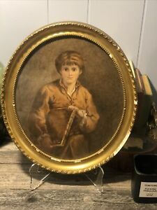 Framed Oval painting young boy Under Glass