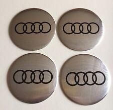 AUDI Wheel Centre Hub Cap Emblems Badges Stickers 57mm full Set of 4 Silver