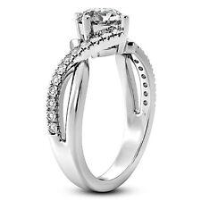Split Shank 4 Prong 1 Ct Round Cut Diamond Engagement Ring White Gold VS2 H