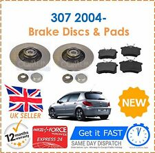 For Peugeot 307 1.4 1.6 2.0 HDi SW CC 2004- Rear Brake Discs + Pads + Bearings