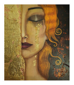 vintage framed gustav klimt gold tears golden canvas  painting art print artwork