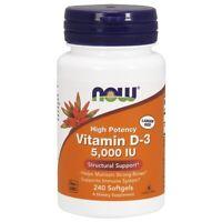 NOW Highest Potency Vitamin D-3 5000 IU 240 Softgels, Bone Support, FRESH
