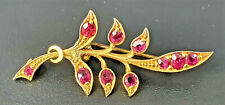 Victorian 9ct Gold and 10 x Ruby Brooch - Repaired