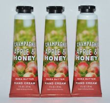 3 BATH & BODY WORKS CHAMPAGNE APPLE HONEY HAND CREAM LOTION SHEA BUTTER 1 OZ