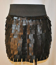 CHIC Cocktail Party Clubbing Rock Grunge Black Square Fringe Tiered Skirt Top M