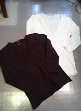 Willi Smith Lot- Brown 3/4 Sleeve Sweater & Ivory 3/4 sleeve Knit Shirt- Small