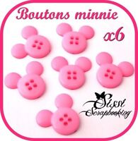 LOT 6 BOUTONS MINNIE ROSE ENFANTS SCRAPBOOKING COUTURE