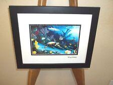 By Wyland Living Reef (Turtle)  Gold Foil Stamp Framed