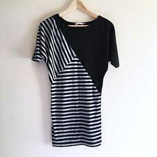 Black & White New Look Striped Dress. UK 8. (Stretch, Bodycon, Short Sleeve)