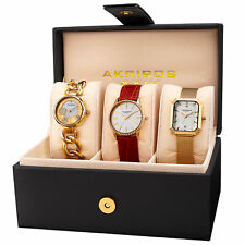 Akribos XXIV AK975YG-S Women's Quartz Gold-Tone Diamond Crystal Triple Watch Set