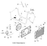 Polaris Engine Outlet Hose, Radiator Inlet, Genuine OEM Part 5413740, Qty 1