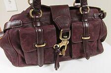 FRANCESCO BIASIA PURPLE Leather Shoulder Satchel Medium Tote Carryall Purse Bag