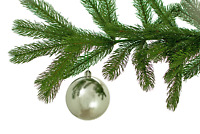 SHINY SILVER BALL ORNAMENTS CHRISTMAS TREE HANGING INDOOR OUTDOOR 50MM 1 DZ