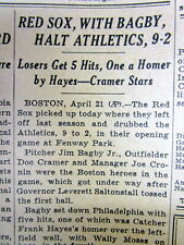 1939 NY Times newspaper Boston Red Sox TED WILLIAMS 1st baseball game FENWAY PAR
