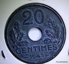 MONNAIE  FRANCE 20 centimes ETAT FRANCAIS  1943  ZINC  AC414