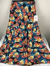 NWT Lularoe XL Floral Maxi Skirt Teal Red Yellow Black Stretchy Modest